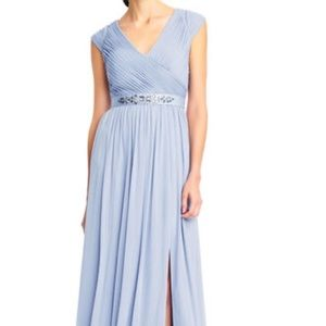 Adrianna Papell shirred cap sleeve tulle gown